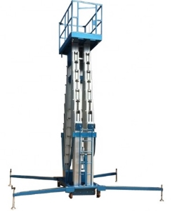 6m electric hydraulic double column aluminum alloy mast lift platform/double post aluminum lift for aerial work
