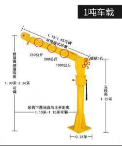 Technical details of mini truck crane (davit crane)